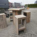 Steigerhout hoge bar tafel met krukken